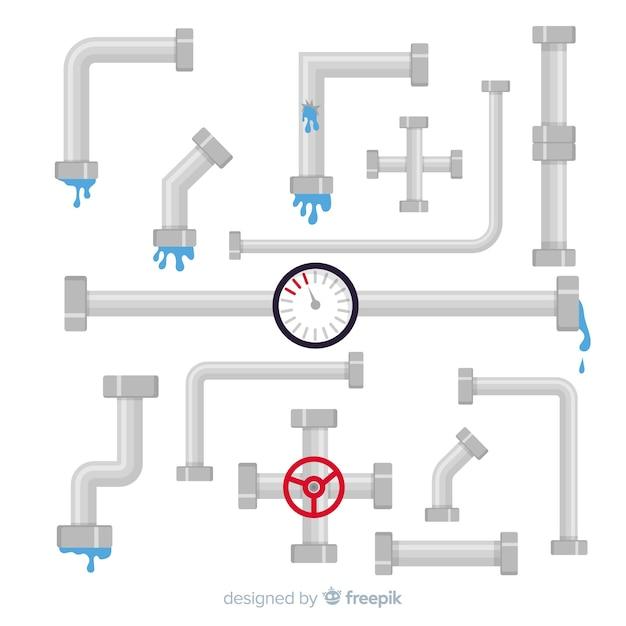Коллекция плоских водопроводных труб Бесплатные векторы