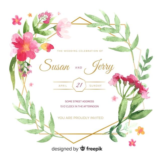 水彩画フレームで結婚式の招待状 無料ベクター
