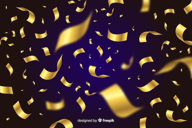 黒の背景に金色の紙吹雪背景 無料ベクター