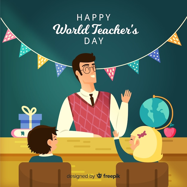 Ручной обращается всемирный день учителя с гирляндой Бесплатные векторы