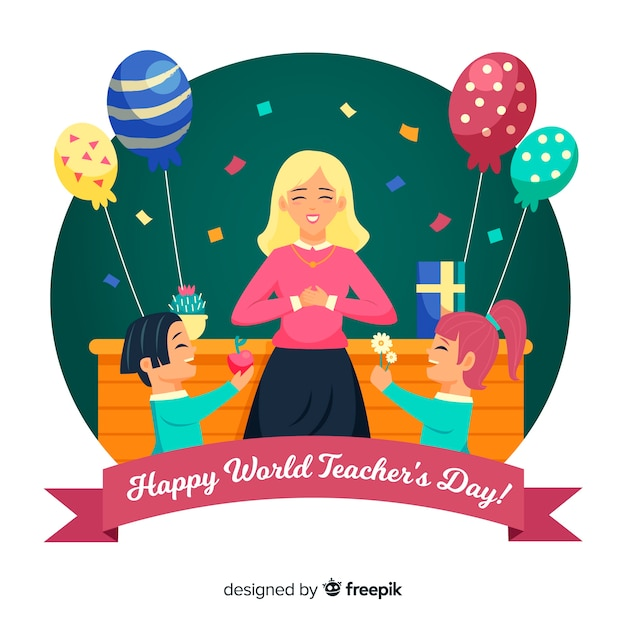 風船で手描き世界教師の日 無料ベクター
