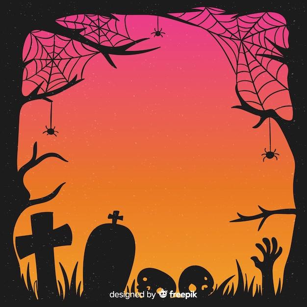 手描きハロウィーンクモの巣と墓石フレーム 無料ベクター
