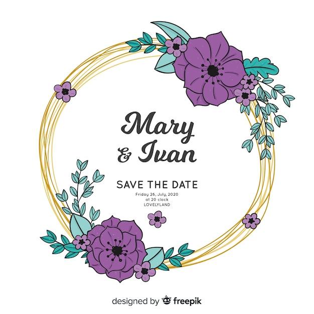 花のフレームの結婚式の招待状の手描き 無料ベクター