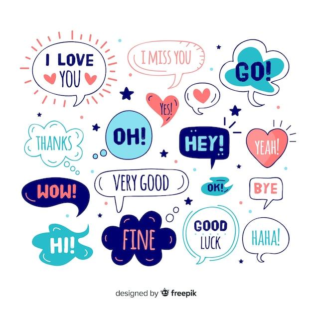 Симпатичные речевые шары с разными выражениями Бесплатные векторы