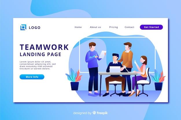 Целевая страница с плоской командой дизайнеров Бесплатные векторы