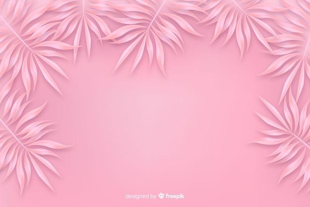 Розовый монохромный фон с листьями Бесплатные векторы