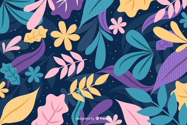 手描きの葉と花でカラフルな背景 無料ベクター