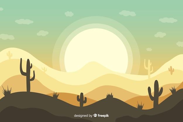 Пустынный пейзаж фон с кактусом и солнцем Бесплатные векторы