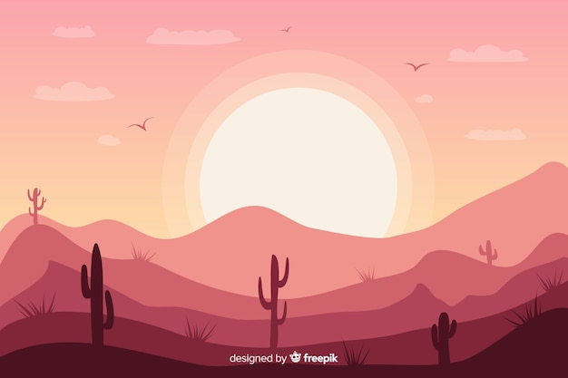 Розовый пустынный пейзаж фон с кактусом и солнцем Бесплатные векторы