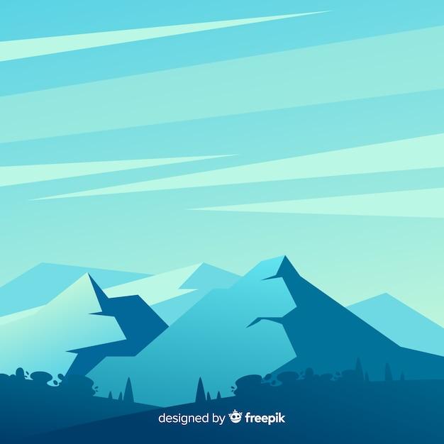 Иллюстрированный голубой градиент горы пейзаж Бесплатные векторы