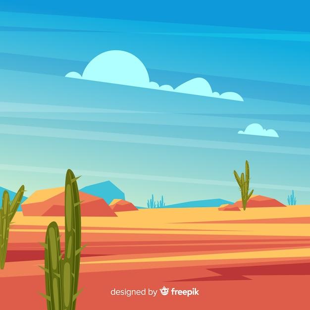 Иллюстрированный фон пустынный ландшафт Бесплатные векторы