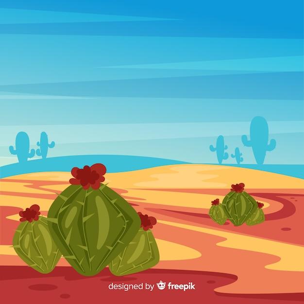 サボテンとイラストの砂漠の風景の背景 無料ベクター