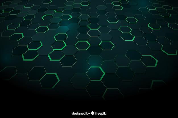 Зеленый технологический сотовый фон Бесплатные векторы