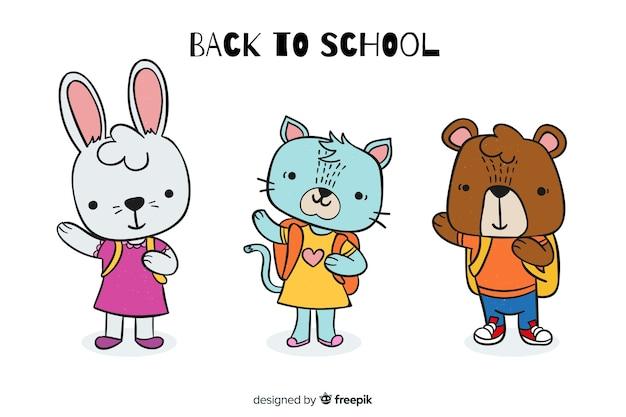 学校行事に戻るためのかわいい動物イラスト 無料ベクター