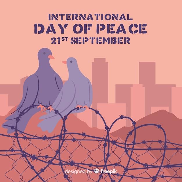 手描き国際平和デー鳩 無料ベクター