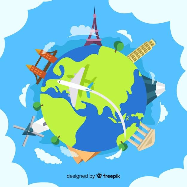 Нарисованные от руки достопримечательности всемирного дня туризма Бесплатные векторы