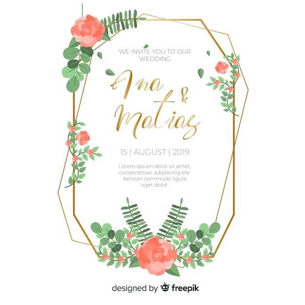 赤い花のフレームの結婚式の招待状 無料ベクター