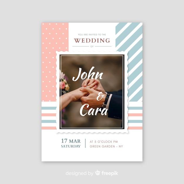 写真テンプレートとレトロな結婚式の招待状 無料ベクター