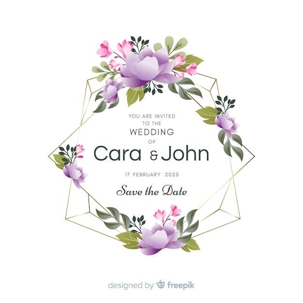 かわいい花のフレームの結婚式の招待状 無料ベクター