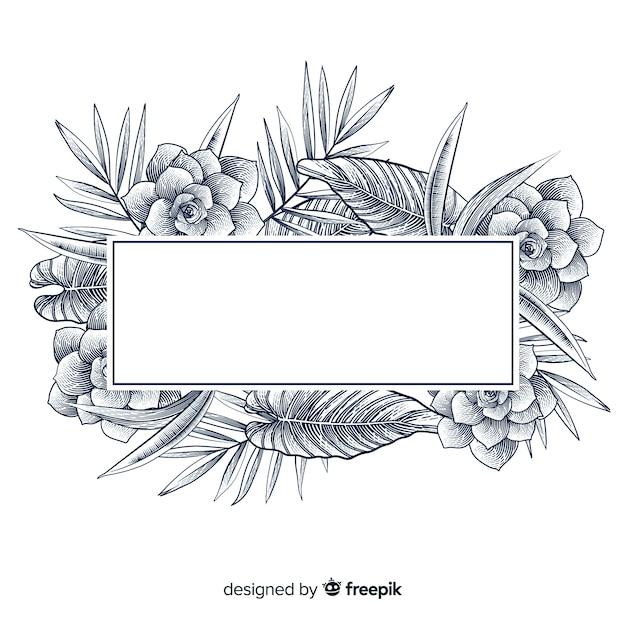 Реалистичная рисованной цветочный баннер Бесплатные векторы