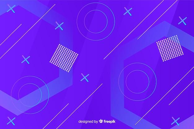 青のグラデーションの幾何学的図形の背景 無料ベクター