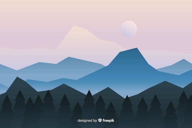 Иллюстрированный пейзаж с горами и лесом Бесплатные векторы