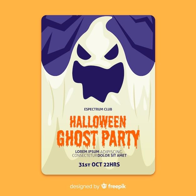 クローズアップ不気味な幽霊フラットハロウィンポスター 無料ベクター