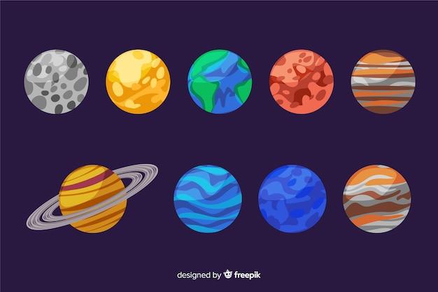 手描きの太陽系惑星のセット 無料ベクター