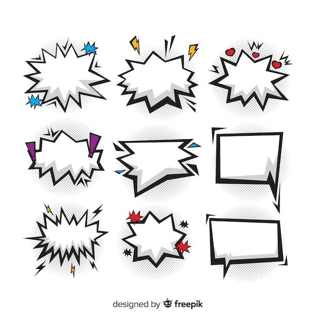Пустые комические речевые пузыри с цветными элементами Бесплатные векторы