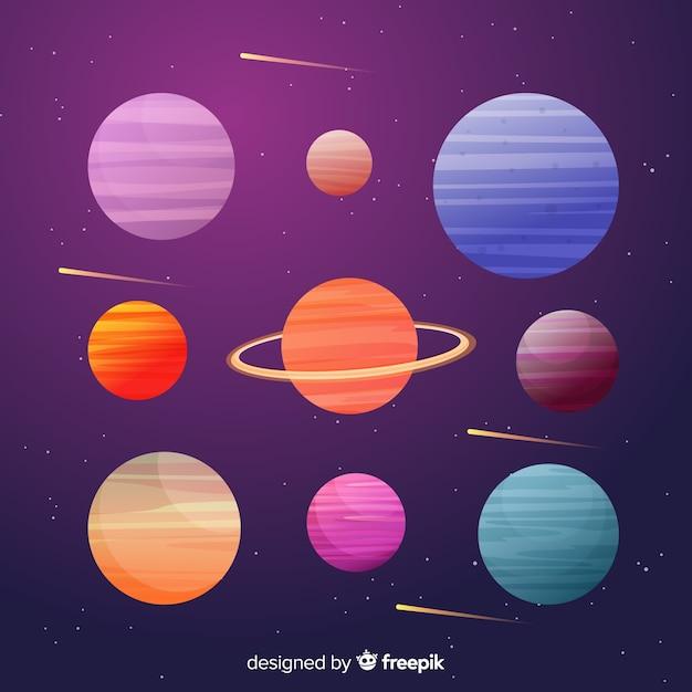 平らな惑星のカラフルなコレクション 無料ベクター
