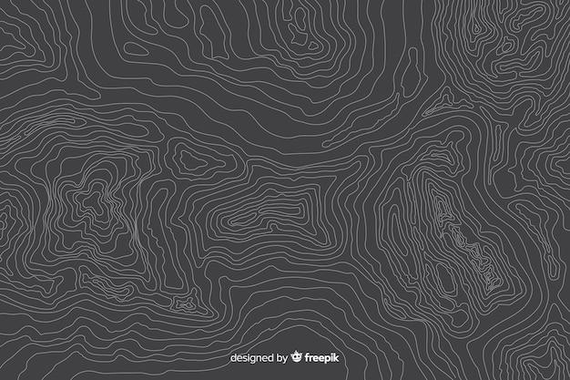 灰色の背景に多数の地形線 無料ベクター