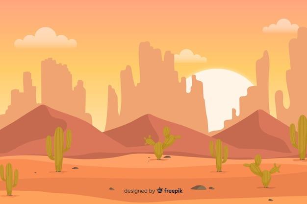 緑のサボテンとオレンジ色の砂漠 無料ベクター