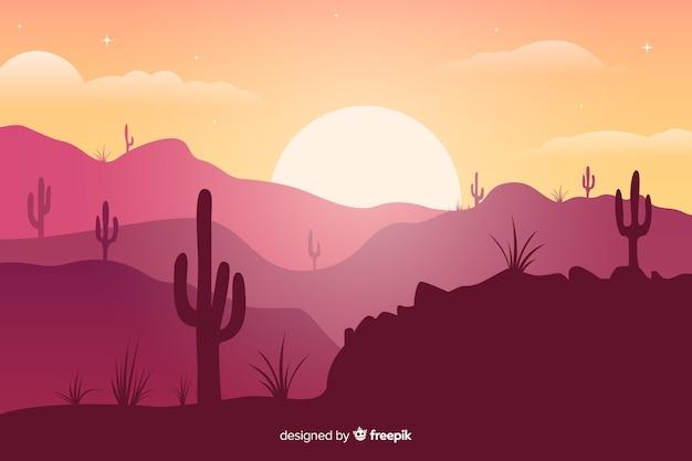 Розовые оттенки пустыни с кактусами и ярким солнцем Бесплатные векторы