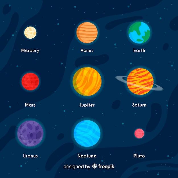 平らな惑星のカラフルなセット 無料ベクター