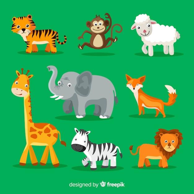 かわいい漫画の動物のコレクション 無料ベクター