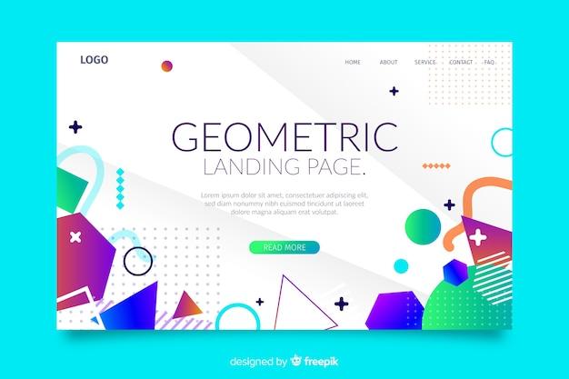 カラフルな幾何学的図形のランディングページテンプレート 無料ベクター