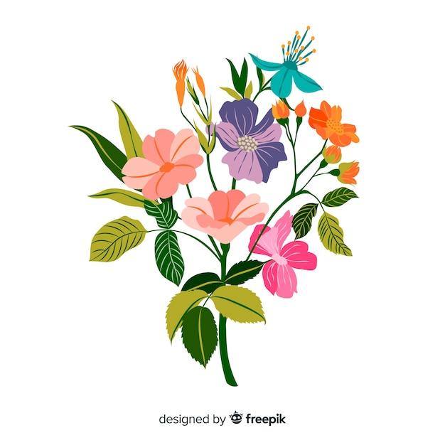 手描きのカラフルな花の枝 無料ベクター