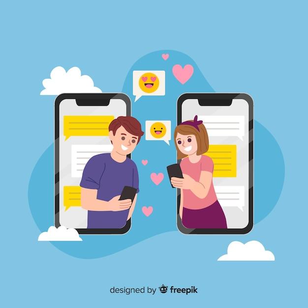 Концепция приложения для знакомств в социальных сетях Бесплатные векторы