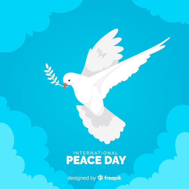 鳩とフラットなデザインの平和の日 無料ベクター