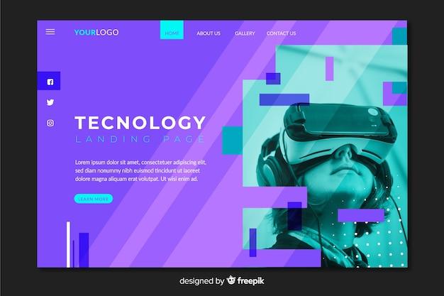 写真付きの最新テクノロジーのランディングページ 無料ベクター