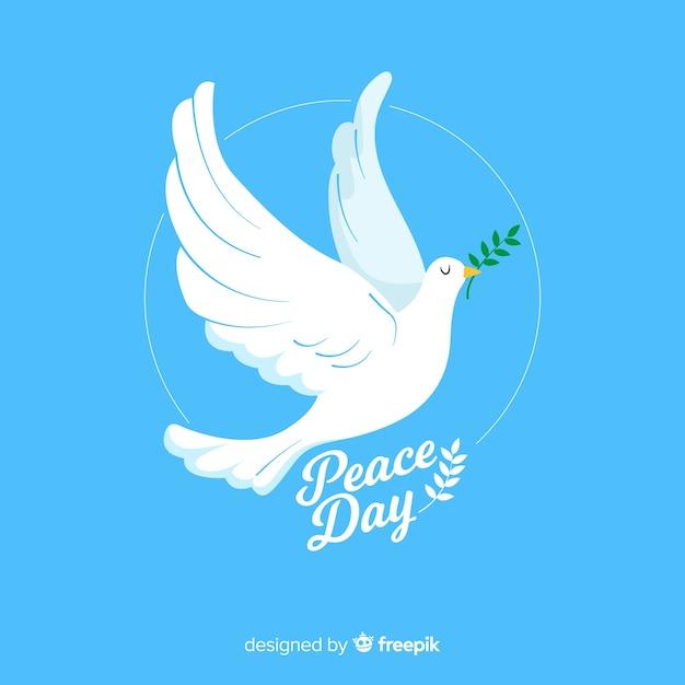 Плоский дизайн мирный день с голубем Бесплатные векторы