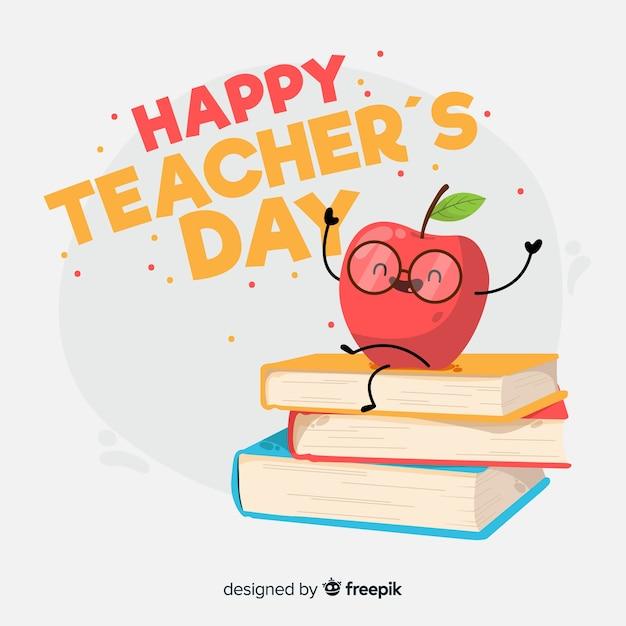 Плоский дизайн фона день учителя Бесплатные векторы