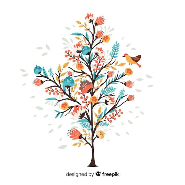 手描きの小さな鳥とカラフルな花の枝 無料ベクター