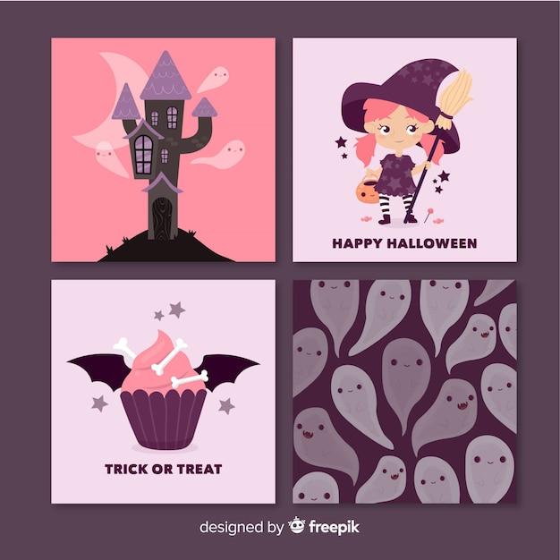ピンクのハロウィーンカードのセット 無料ベクター