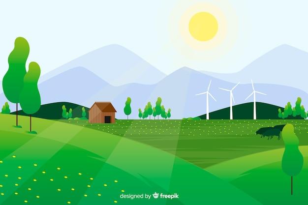 太陽と森の中の農場で平らな自然の風景 無料ベクター