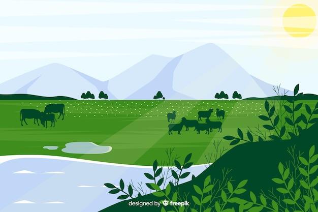 山と平らな自然の風景 無料ベクター