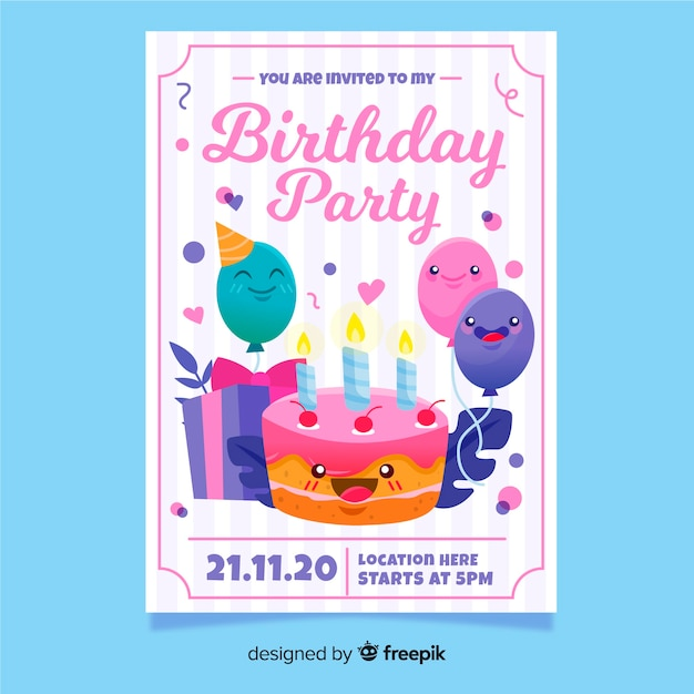 カラフルな手描きの誕生日の招待状のテンプレート 無料ベクター