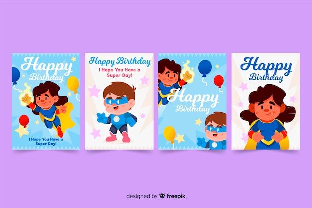 手描きの誕生日カードセット 無料ベクター