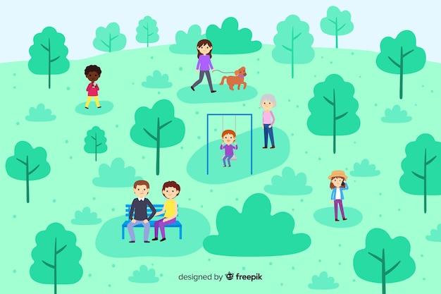 公園でリラックスした人々 無料ベクター