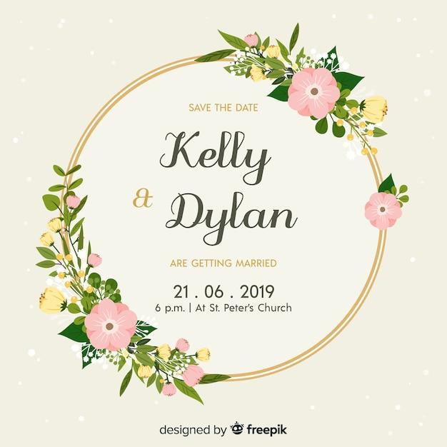 花の結婚式の招待状のフラットなデザイン 無料ベクター